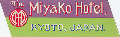 The Miyako Hotel KYOTO Japan Vintage Luggage Label