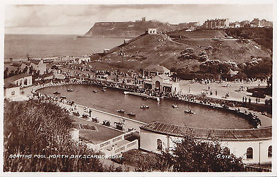 Boating Pool NORTH BAY Scarborough England ® 1934 Valentine Real Photo PC G912