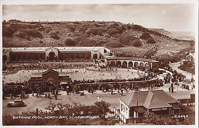 Bathing Pool NORTH BAY Scarborough England ® 1938 Valentine Real Photo PC G8693