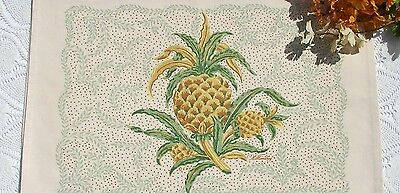Set 2 Unused Collectible Williamsburg Cream Canvas Yellow Pineapple Placemats