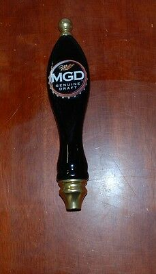 Miller Genuine Draft MGD Black & Gold Beer Screw On Tap Handle 12""