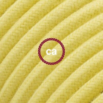 RC10 Pale Yellow Solid Round Electric Cable covered by Cotton