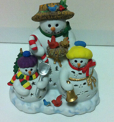 Party-Lite 3 SNOWMEN Christmas Winter Candle Holder Stars Trees Holly Eluminator