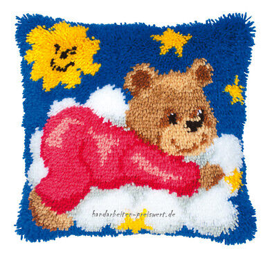 Vervaco Latch Hook Cushion 40x40cm TEDDY BEAR red on a cloud Pack for Knot -3619