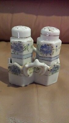Rare, Antique, Hand Painted Nippon Salt & Pepper With Holder  - No Stoppers