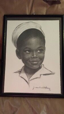 J. Macdonald Henry Signed Charcoal Art Print - Jamaican Child, Boy With Hat