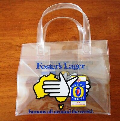 FOSTER'S LAGER - Famous all around the world - CLEAR PLASTIC 6 PACK CARRY BAG