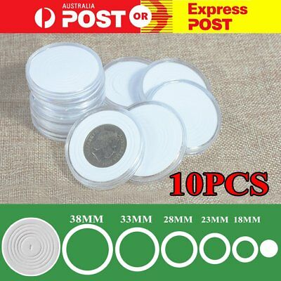 10 pieces Coin Cases Capsules Holder Applied Clear Plastic Round Storage Box