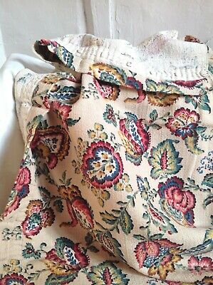 Vintage French Fabric Jacobean Style Pink Yellow Blue Floral Panel
