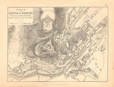 1855 Antique Map/Battle Plan- Siege of the Castle of Burgos, Sept/Oct 1812