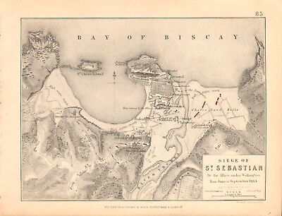 1855 Antique Map/Battle Plan- Siege of St Sebastian, June to September 1813