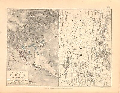 1855 Antique Map/Battle Plan- Battle of Culm, Prussia & Poland, 2 maps 1813