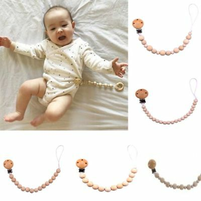 Baby Care Holder Pacifier Chain Dummy Strap Wooden Beaded Nipple Teether Clip