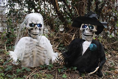 Ground Breaking Skeleton Bride Groom Halloween Party Decoration Prop Led Eyes