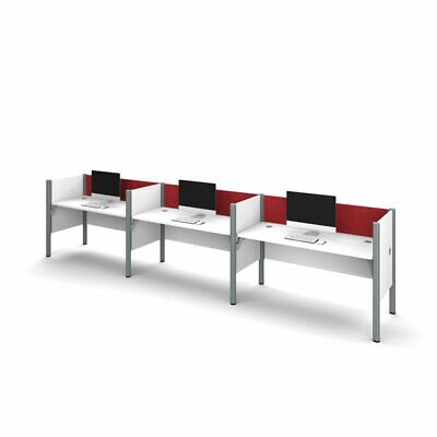 Bestar Pro-Biz 3 Person Workstation in White and Red