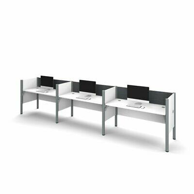 Bestar Pro-Biz 3 Person Workstation in White and Gray