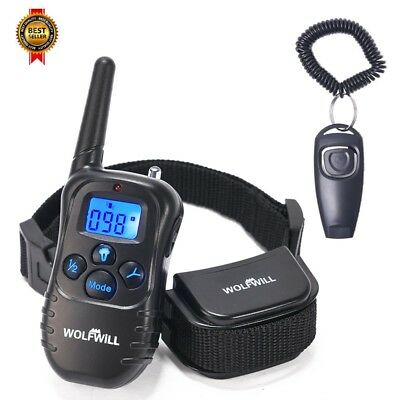 WOLFWILL Remote Pet Dog Training Collar,300 Yards Rechargeable Waterproof NEW
