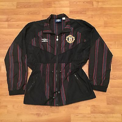Umbro Manchester United Football Soccer Polyester Jacket Stripes Black Mens M