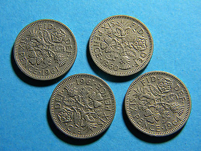 Great Britain UK England (4 ) six pence coins  Coin (lot #0188)