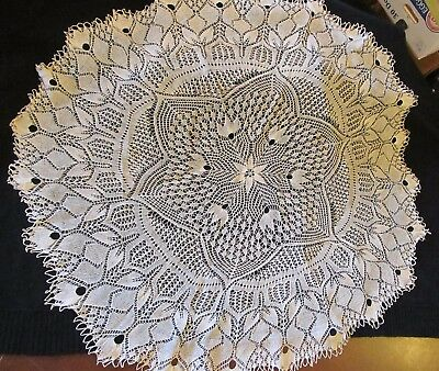 Antique Italian Knit Lace Table Topper