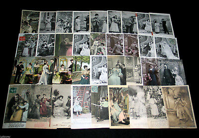 Lot A72 : 36 Cpa Fantaisie Serie Miss Couple Amour Pin-Up Mode Charme Theatre