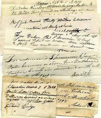 Six New England Promissory Notes - Bills Of Credit 1798-1814 Financial Documents