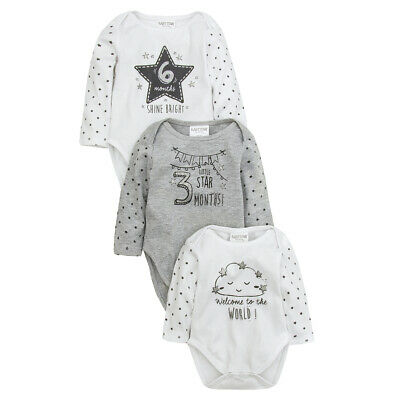 Babies Assorted 3 Pack Milestone Printed Bodysuits Longsleeve Welcome Unisex