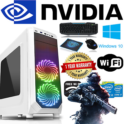 ULTRA FAST Intel Quad Core Gaming PC Tower WIFI 8GB 1TB HDD Win 10 2GB Graphics