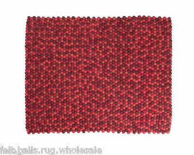 HAY FELT BALL RUG  RECTANGLE BRIGHT RED MAT 5 ft / 3 ft PURE WOOL NURSERY CARPET