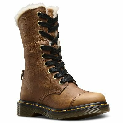 Dr.Martens Aimilita 9-Eyelet Fur Lined Tan Womens Grizzly Lace-up Combat Boots