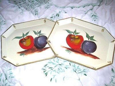 2 French Provincial White Tole Tray Apples Plums Vintage Country Cottage Fruit