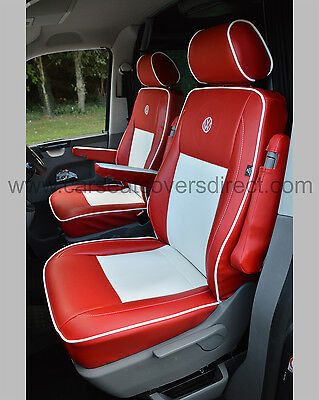 Volkwagen VW Transporter T6 Van Seat Covers - Red & White Captain Seats