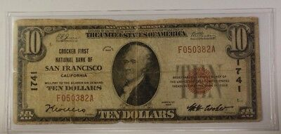 US $10 National Banknote Series of 1929 San Francisco California Charter #1741