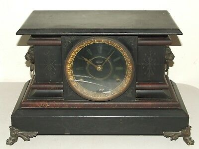 "Antique c1880 INGRAHAM Black Ebony Victorian ""Coronet"" Parlor Mantel Shelf Clock"