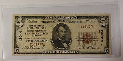 US $5 National Banknote Series of 1929 San Francisco California Charter #13044