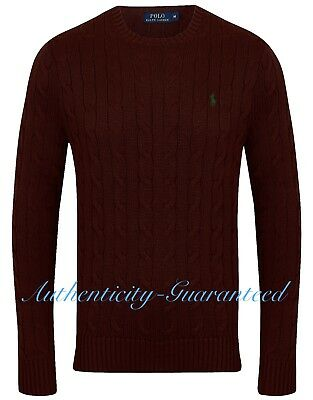 Ralph Lauren Men's Crew Neck Cable Knit Cotton Jumper Burgundy S - XXL RRP £119