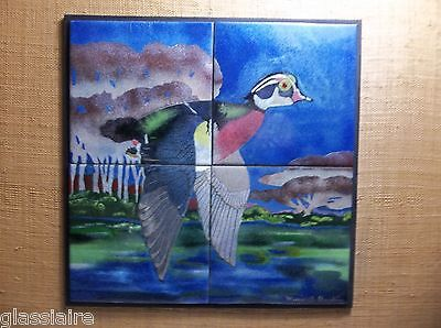 Vintage Art Tile Mural WOOD DUCK Hand Painted SIGNED MARIE RUSHING 21.5""