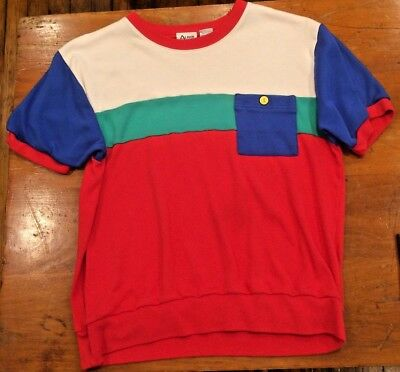 Vintage 90s Primary Colors Red Green Blue White Shirt Sweatshirt Top Cosplay