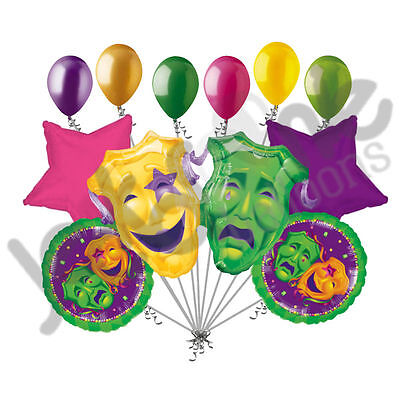 11 pc Comedy Tragedy Masks Mardi Gras Balloon Bouquet Party Decoration Gold