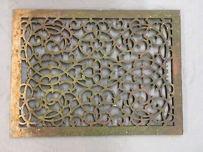 Large Antique Cast Iron Cold Air Return Vent Vtg Victorian Grill 29x21 698-17E