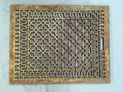 Large Antique Cold Air Return Heat Grate Gothic Vent Vtg Grill 26x20 700-17E