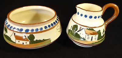 Vintage Devon Torquay Watcombe Motto Ware Milk Cream Jug & Sugar Bowl VGC