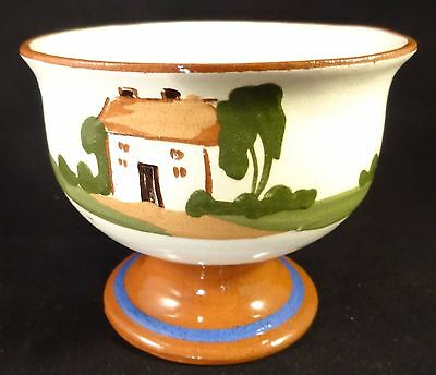 "Devon Dartmouth Pottery Motto Ware 4""  Footed Bowl Good Courage Breaks Ill Luck"
