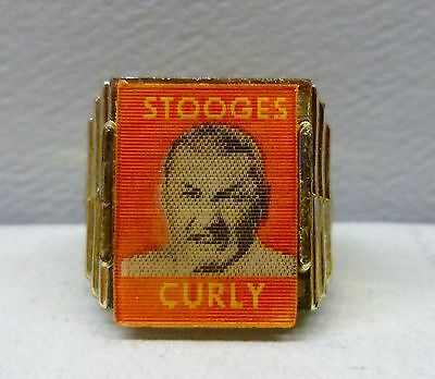 Curly Three 3 Stooges Flicker Lenticular Ring Vari-Vue 1960's Gum Ball Prize