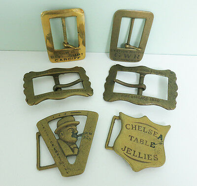 Lot of 6 Vintage Solid Brass Belt Buckles, Made in England, Large, Heavyweight