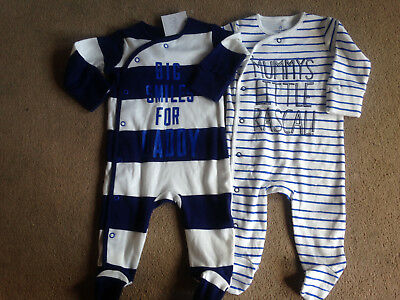 BNWT NEXT Boys 2 Pack Blue Stripe Mummy & Daddy Slogan Sleepsuits