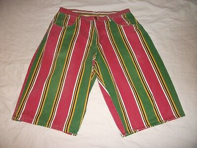 Vtg 90s Hip Hop Rasta Striped CROSS COLOURS Colors Denim Long Shorts 40 fit 36