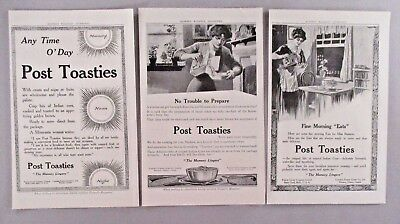 Post Toasties Cereal LOT of 3 PRINT AD - 1912