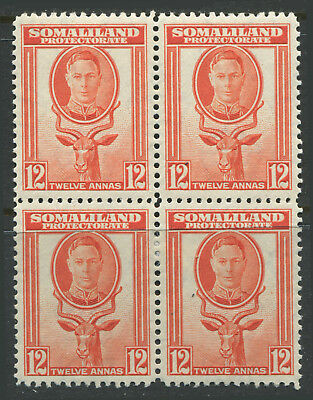 Somaliland Protectorate KGVI 1938 12 annas orange block of 4 mint o.g.