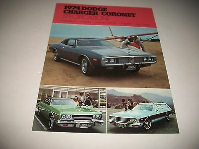 1974 Dodge Charger & Coronet Cdn Issue Specifications & Options Brochure